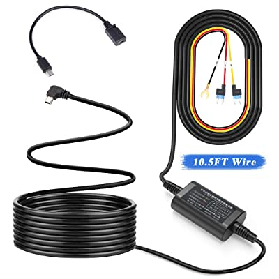 Extractme Dash Cam Hardwire Kit, Micro USB Port/Mini USB Port, 8.5V-28V to 5V 2A Vehicle Hard Wires Kit Fuse for Dash Cam Cameras, Low Voltage Protection (10.5FT): Car Electronics [5Bkhe0811251]