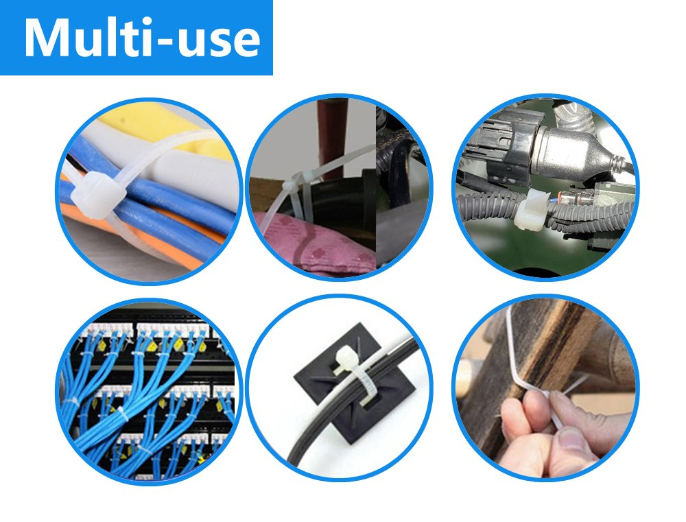 BagTu 100pcs Nylon Cable Ties 8 Inch Multi-Purpose Self-Locking Zip Ties 50pcs White Single-use Ties and 50pcs Black Reusable Ties