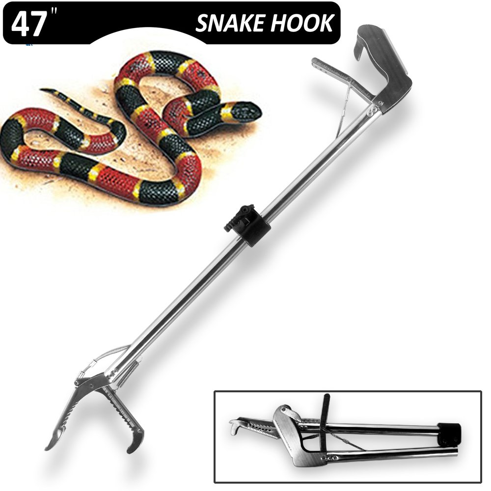 SUNKY 47-inch Aluminum Alloy Foldable Professional Standard Snake Tong Reptile Grabber Heavy Duty Rattle Snake Catcher Wide Jaw Handling Tool with Lock Non-Slip Handle