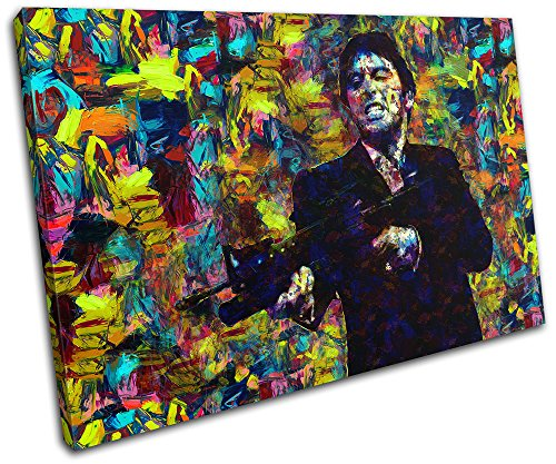 (Bold Bloc Design - Scarface Movie Pop Iconic Celebrities 60x40cm SINGLE Canvas Art Print Box Framed Picture Wall Hanging - Hand Made In The UK - Framed And Ready To Hang)