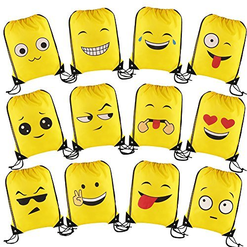 Goody Bag Filled (LOKIPA Emoji Drawstring Backpack 12pcs Cute Emoji Bags for Kids Girls and Boys Party Favors for Teens Emoji Party Supplies Gift Goody Birthday Party Bags)