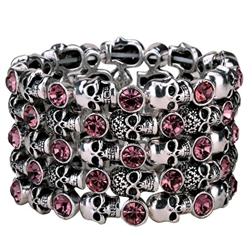 YACQ Jewelry Goth Skull Skeleton Stacket Crystal Stretch Sleeve Cuff Bracelet Gifts for Women Biker...
