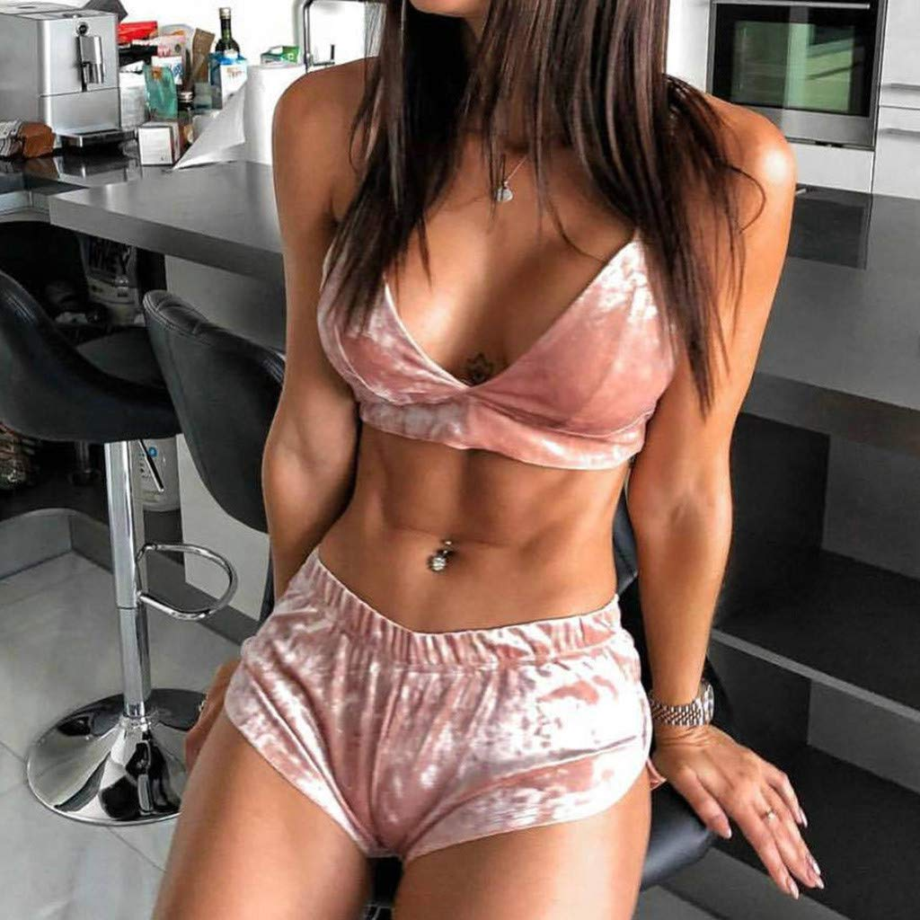 L, Pink Gallity Women 2 Piece Short Sets Outfits Sleeveless Chest Pad Tops Short Pants Casual Outfit Sportswear