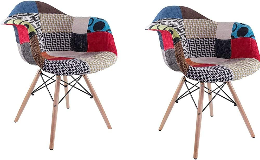 ,Red Blue Two Chairs Classic Solid Wood Chair with backrest and armrests Patchwork for Restaurant Office Living Room
