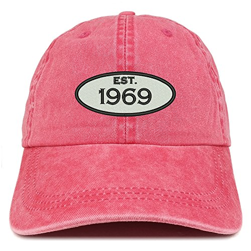 50th Birthday Hats (Trendy Apparel Shop Established 1969 Embroidered 50th Birthday Gift Pigment Dyed Washed Cotton Cap -)
