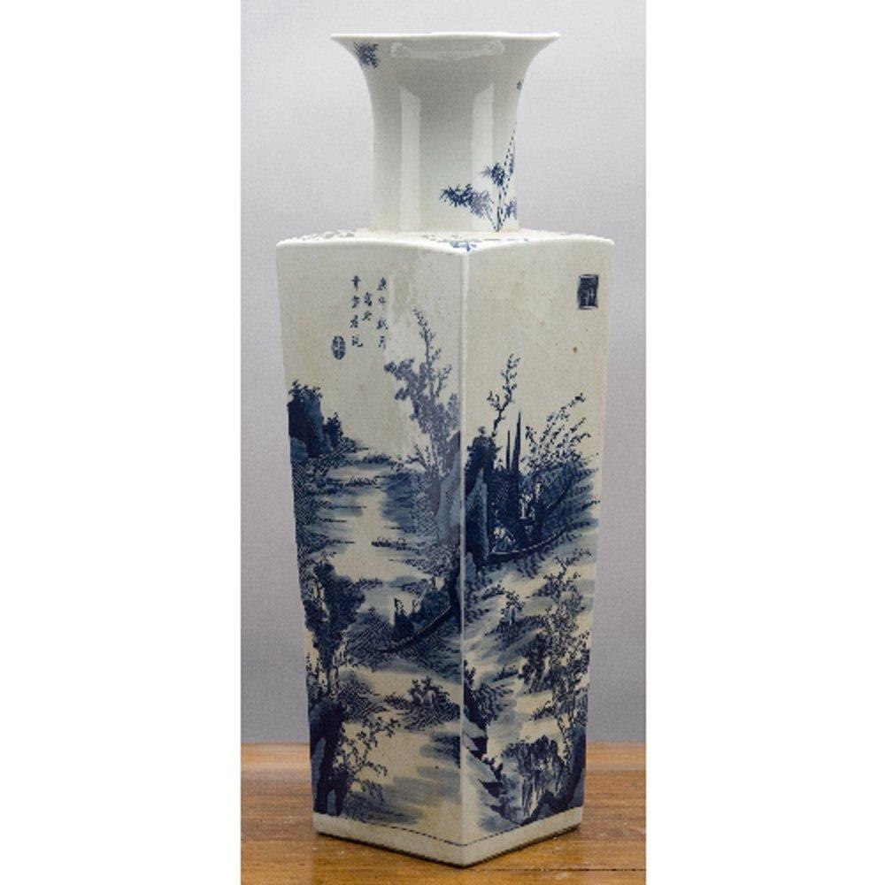 Home decor. Blue And White Square Oriental Vase. Dimension: 6 x 6 x 20. Pattern: Blue & White Classic.