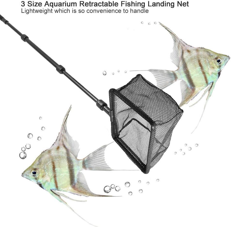 Garosa Fischernetz Folding Kescher Versenkbare Aluminium Aquarium Net Schwimmobjekte Saubere Werkzeuge Angelzubeh/ör