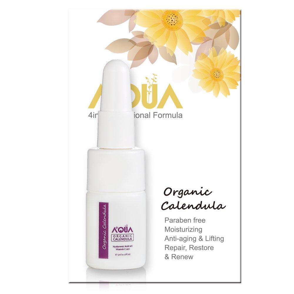AQUA+ QAI Organic Certified Calendula Extract Skin Serum w/ 20% Vitamin C & 10% Hyaluronic, best for Restoring/Repairing Damage Skin/Wrinkles/Scars, Anti-aging, Moisturizing, Tightening - 30 ml