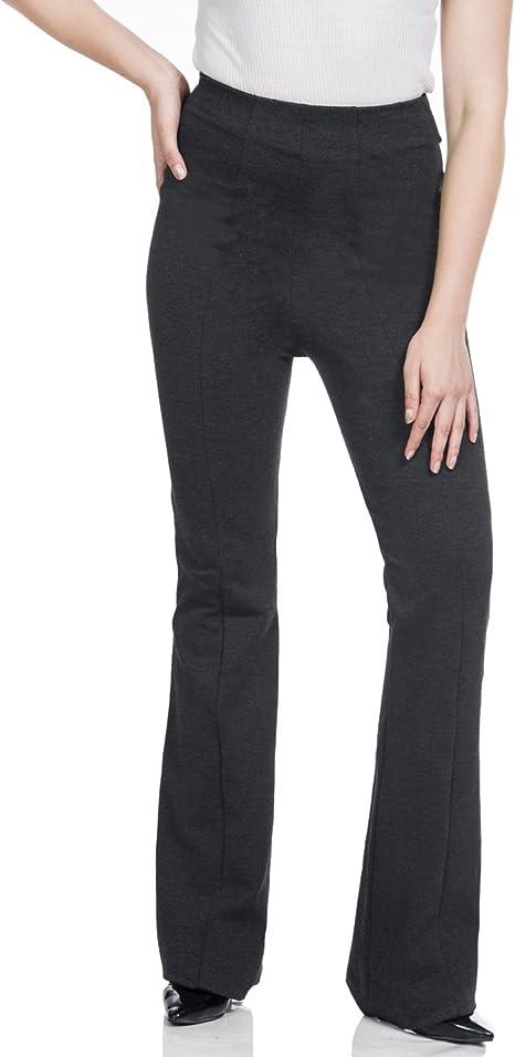 Soshow Women Pull on Yoga Pants,Long Leggings Bootleg Rayon Trousers,Flare Pants Black