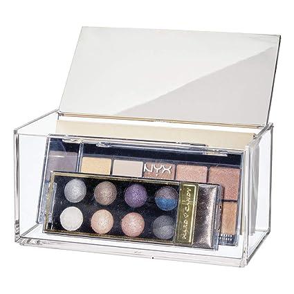 mDesign Caja de maquillaje grande con espejo – Organizador de cosméticos para baño y tocador – Cajas de plástico transparente para organizar ...