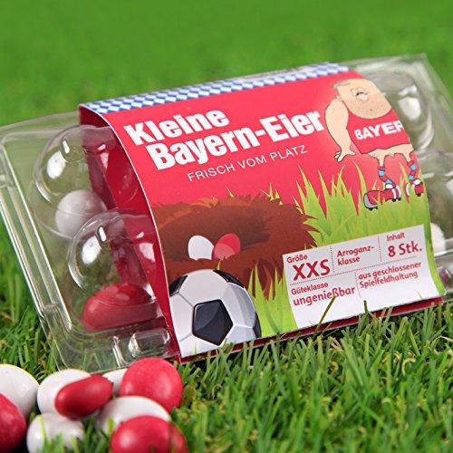 Kleine Bayern Eier - Dortmund-, Schalke- und alle Fußball-Fans aufgepasst. Witziges Geschenk zu Ostern, Ostergeschenk für Freunde, Kollegen, Geburtstage und Partys zum Verschenken und Vernaschen - Süßigkeiten, Schokoladeneier, Fruchtgummi