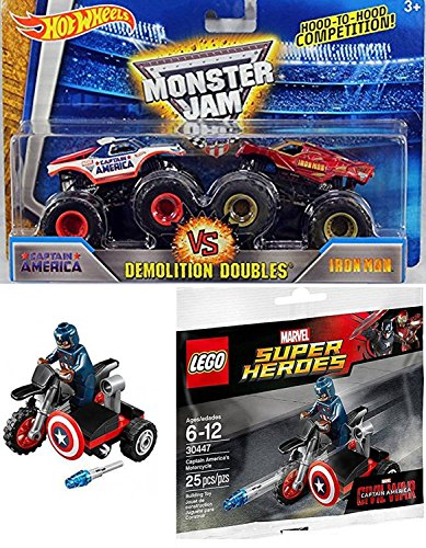 Demolition Doubles Iron-Man VS. Captain America Jam Marvel 2016 Hot Wheels & Lego Super Heroes Captain America Motorcycle & Mini Figure (Cardboard Captain America Shield)