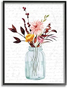 Stupell Industries Jar of Flowers Autumn Red Fall Seasonal, Design by Artist Lettered and Lined Wall Art, 24 x 30, Black Framed