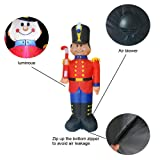 Phoenixreal 6 Foot Christmas Inflatables Nutcracker Toy Soldier with Cane, Airblown Inflatable Soldier, Lighted for Home Outdoor Yard Lawn Decoration