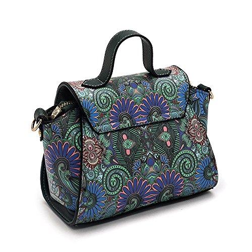Messenger Simple Shoulder Sunbobo Painting Capacity PU Large Buckle Bag Lock Square Bag Casual wqOOPR