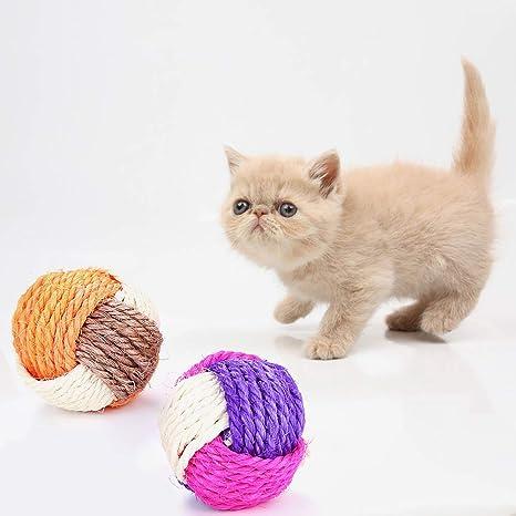 0Miaxudh Juguete para Gatos, Forma de Bola de Tejido Tricolor Linda Juguete para Mascotas Gatito