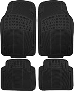 OxGord Ridged All-Weather Rubber Floor-Mat Set - Waterproof Protector for Spills, Dog, Pets, Car, SUV, Minivan, Truck - 4-Piece Set, Black