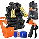 Brass Connectors Expandable Garden Hose By Gada-150ft Black Kink,Flexible-Expanding Garden Hose for all your Watering Needs,Comes with a Free 8 Setting Spray Nozzle&Hose Hanger&Towel(150ft)