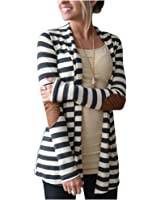 Aifer Womens Striped Long Sleeve Shawl Collar Elbow Patch Open Front Cardigan Sweater