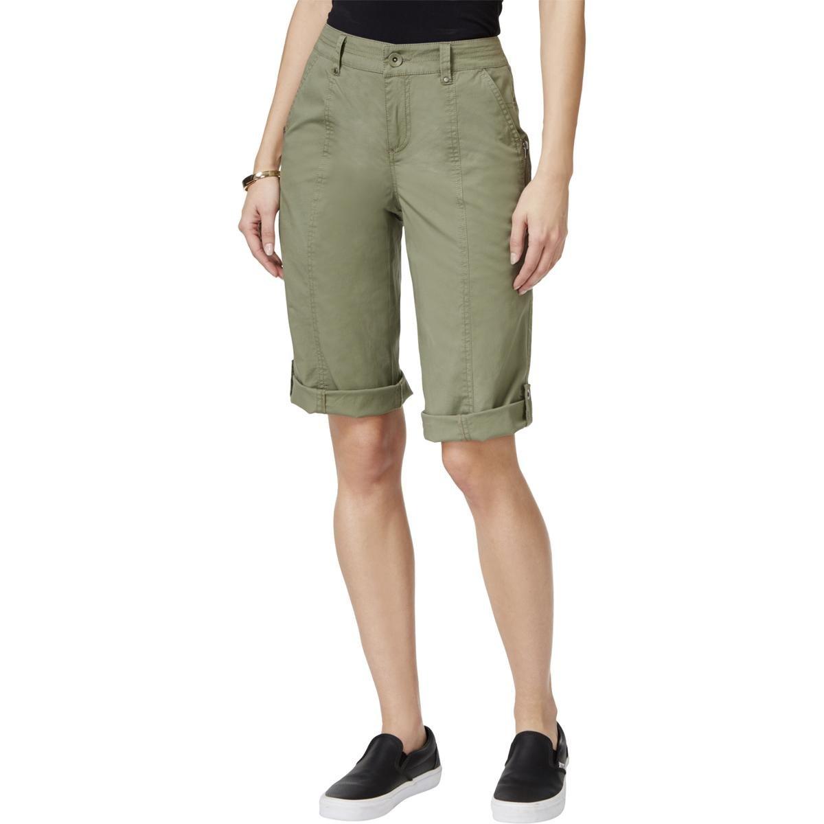 Style & Co. Womens Petites Cuffed Bermuda Cargo Shorts Green 2P