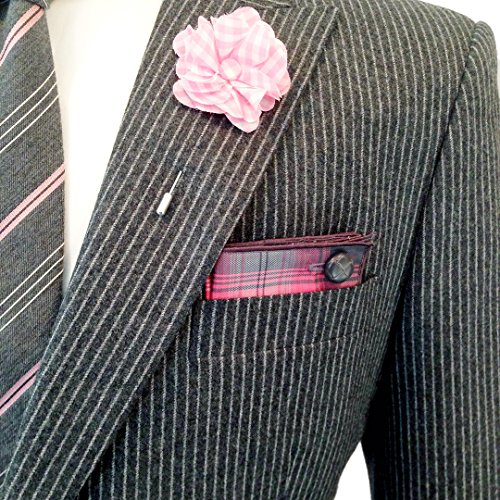 Pink and White Gingham Check Lapel Flower Pin by The Detailed Male (Check Pink White Gingham)