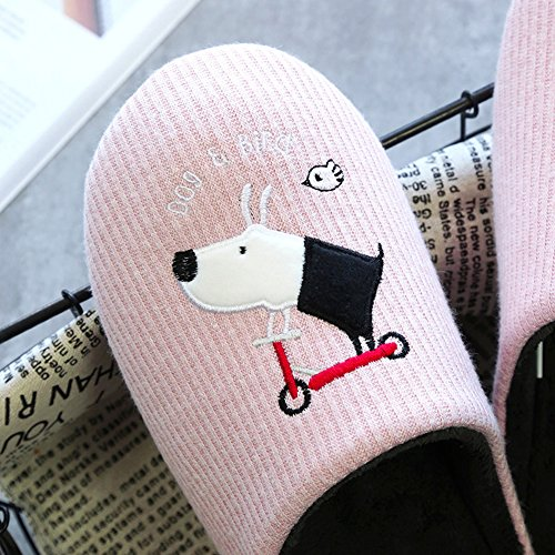 Shevalues Cute Dog House Slippers With Waterproof Sole Pink Dog WOb0vo