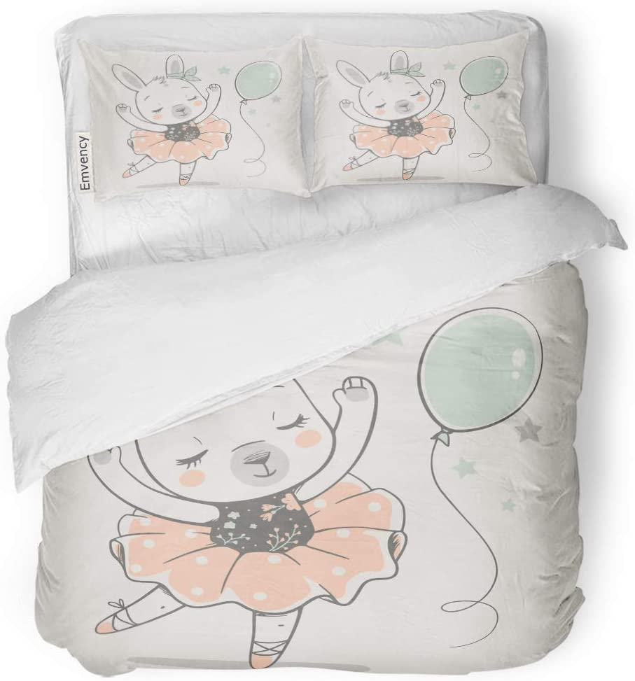 MIGAGA Decor Duvet Cover Set Full/Queen Size Animal Cute Dancing Bunny Ballerina Cartoon Baby Girl Rabbit 3 Piece Brushed Microfiber Fabric Print Bedding Set Cover