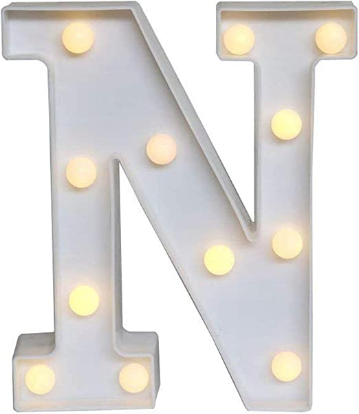 Ogrmar Decorative Led Light Up Number Letters, White Plastic Marquee Number Lights Sign Party Wedding Decor Battery Operated (N)