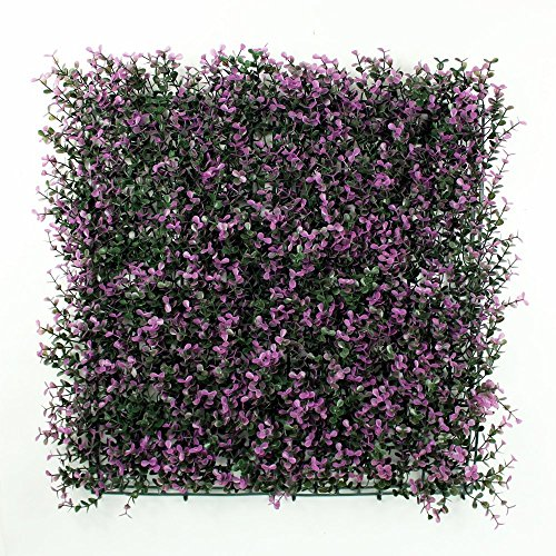 e-joy Artificial Topiary Purple Milan Hedge Plant, Suitable for Both Outdoor or Indoor use, Garden, Backyard, Milan leaf Artificial Hedge 20 x 20 Inch (12 piece) -