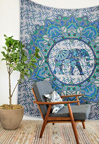 Popular Hippie Mandala elephant ombre Bohemian Tapestry Elephant Mandala Tapestry Tapestry Wall Hanging Boho Tapestry Hippie Hippy Tapestry Beach Coverlet Curtain by Popular Handicrafts