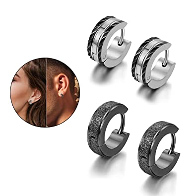Flongo Mens Classic Biker Stainless Steel Engraved Roman Numerals Classic Polished Hoop Hinged Earrings