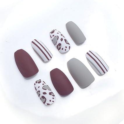 24pcs 12 diferentes tamaño ataúd sólido gris marrón línea blanco leopardo largo completo para uñas postizas