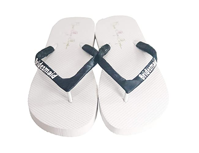 5385028a698 Amazon.com  Cute Bridesmaid Gift - Flip Flop Sandals in Customized Wedding  Colors  Handmade