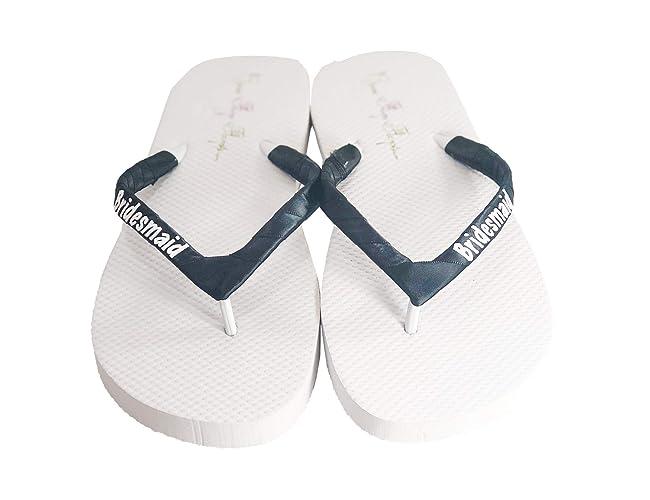 02d2f8c69 Amazon.com  Cute Bridesmaid Gift - Flip Flop Sandals in Customized Wedding  Colors  Handmade
