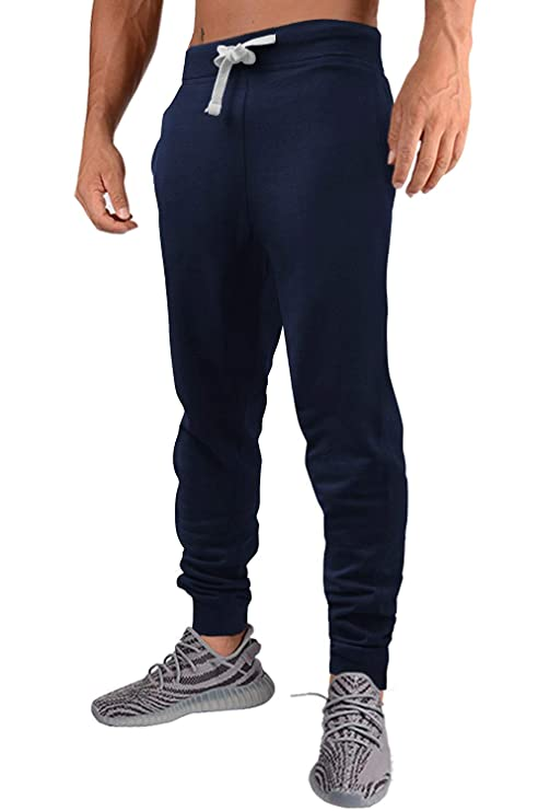 PEGENO Mens Slim Fit Joggers Fitness Activewear Sports Fleece Sweatpants for Gym Training (Dark Blue 2XL) best men's sweatpants