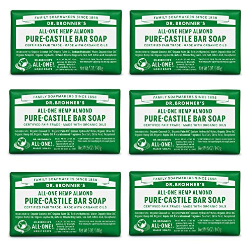 Dr. Bronner's - Pure-Castile Bar Soap (Almond, 5 oz, 6-Pack) - Made with Organic Oils, For Face, Body & Hair, Gentle & Moisturizing, Biodegradable, Vegan, Cruelty-free, Non-GMO (Dr Bronners Tea Tree Bar Soap Reviews)
