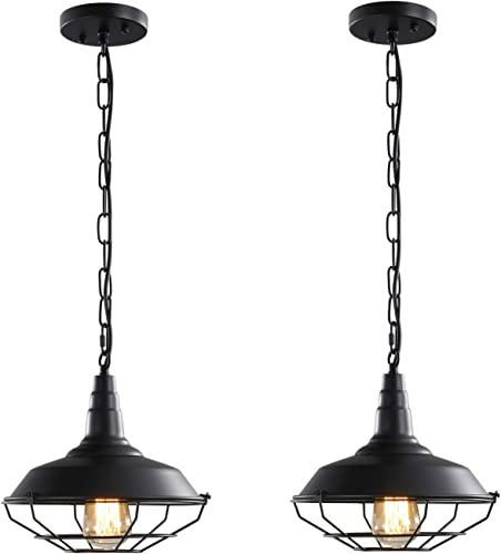 Black Industrial Pendant Lighting 2 Pack D10.23″ Vintage Farmhouse Pendant Light Fixture