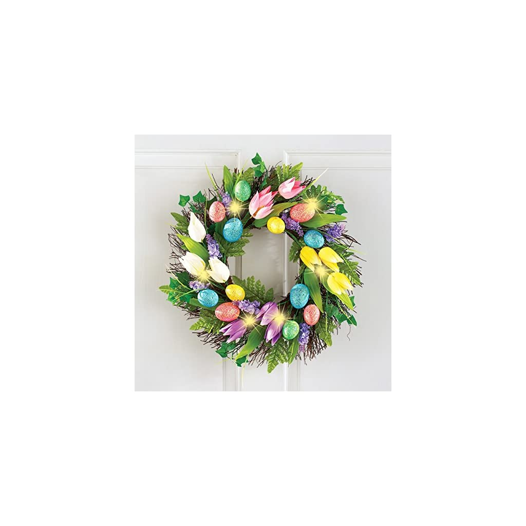 17-Dia-Lighted-Vibrant-Coloful-Flowers-Tulips-Easter-Eggs-Wreath-Decor-Wall-Hanging-Decoration