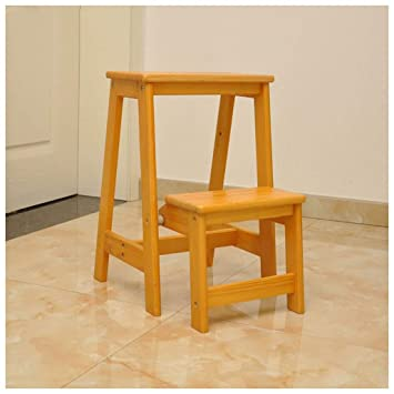 Taburete de escalera Taburete de madera maciza Muebles de 2 ...