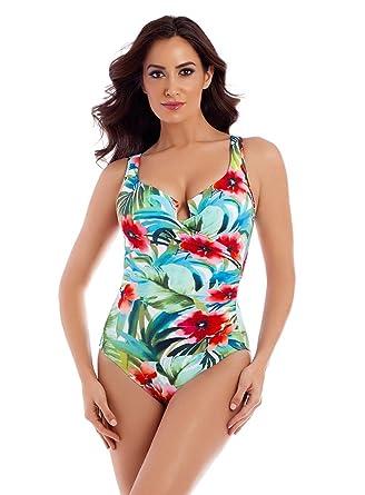 295113ba86f86 Miraclesuit Women s Escape One Piece Surplice Underwire Swimsuit Multi 16  at Amazon Women s Clothing store