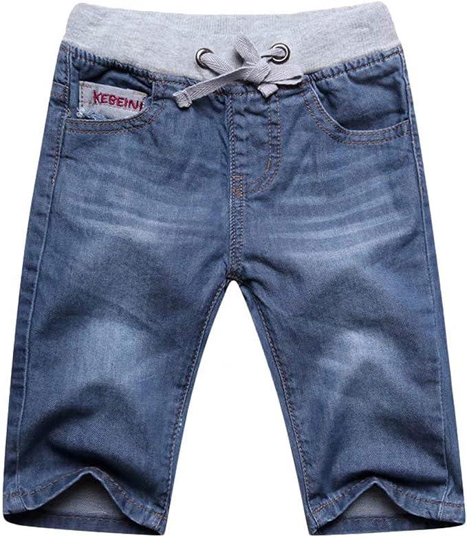 Wxian Boys Elastic Waist 4 Pocket Denim Jeans Shorts with Drawstring