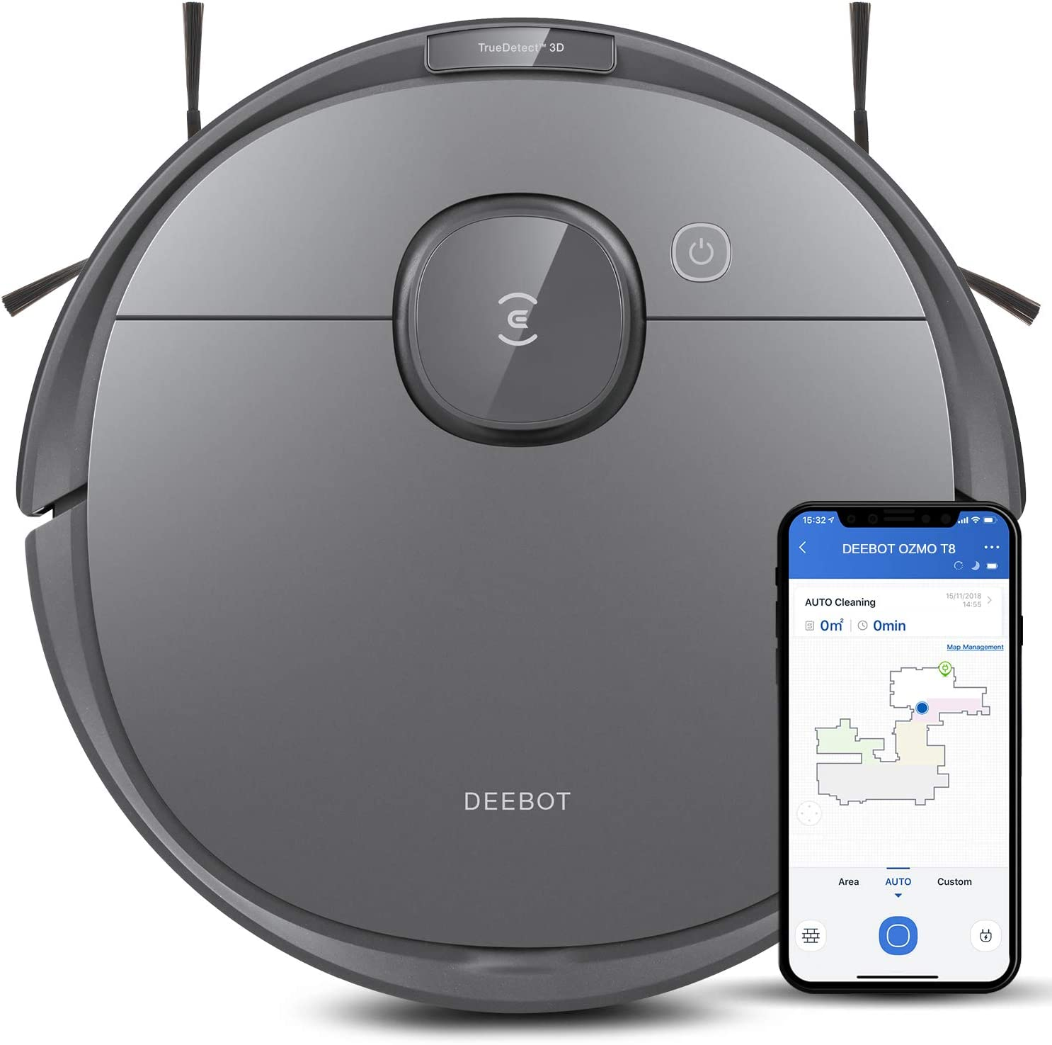Ecovacs Deebot T8 Robot Vacuum and Mop Cleaner, Precise Laser Navigation, Multi-floor Mapping, Intelligent Object Avoidance, Full-customize clean, No-go and No-mop Zones, 180min Runtime Robotic Vacuum