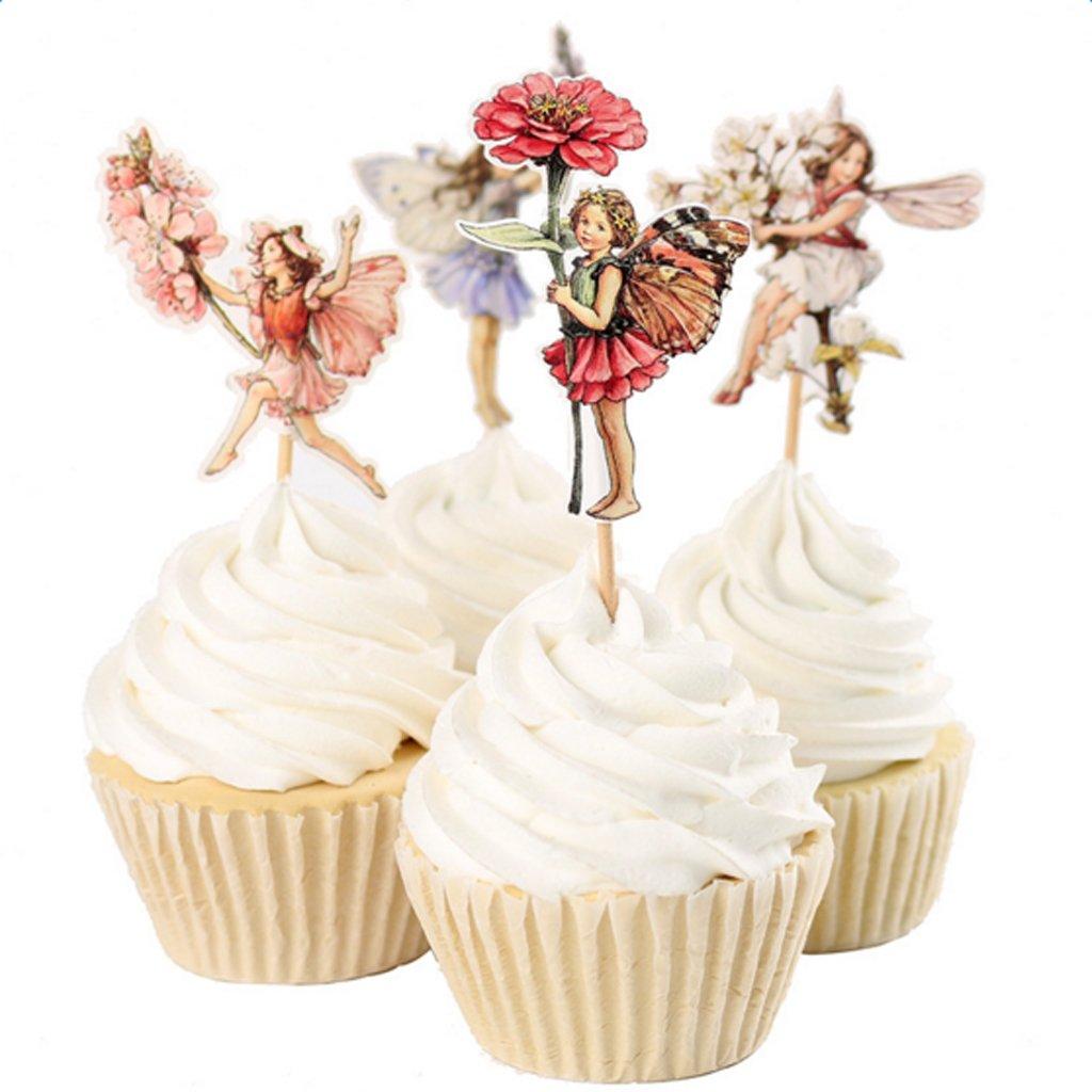 FLAMEER 24 Pezzi Fiore Fata Pixie Bign/é Cake Topper Scegliere Decorazioni Torta di Partito