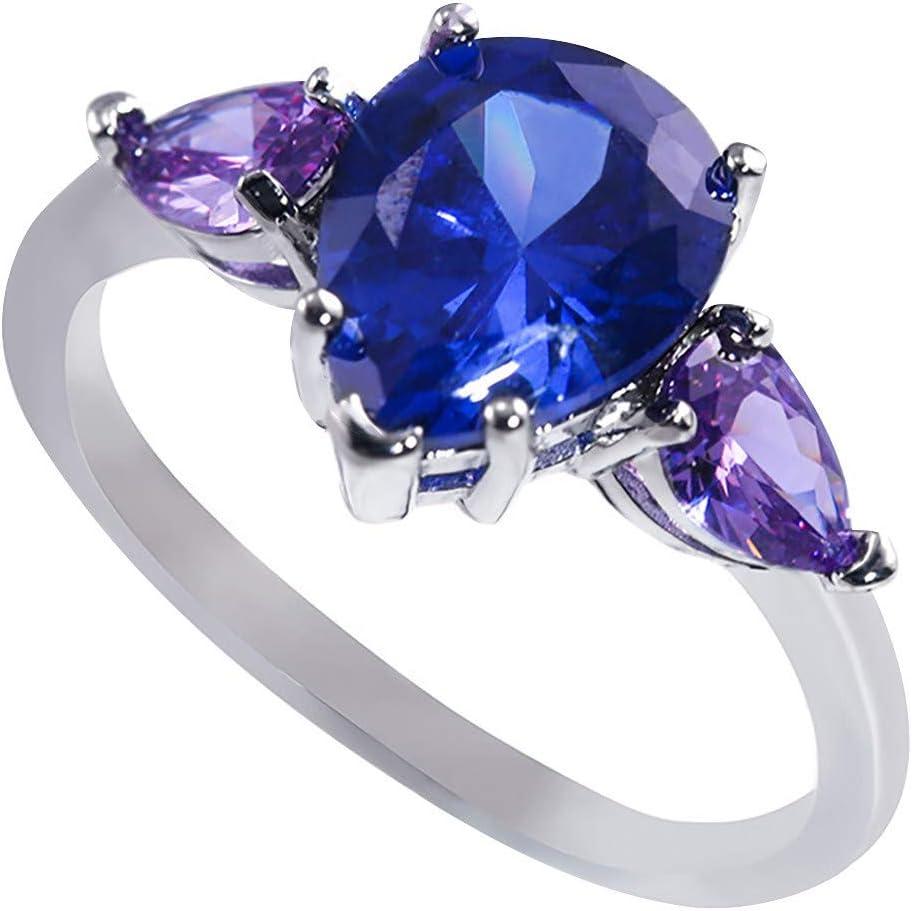 TUUU 여성 우아한 반지 여성을위한 블루 라인 석 웨딩 약혼과 큐빅 지르코니아 약속 반지
