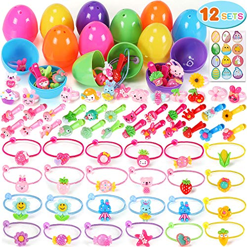 12 Pcs Filled Easter Eggs Prefilled Plastic Surprise Eggs Girl Dressing Up Accessories Easter Basket Stuffers Easter Theme Party Favor, Easter Eggs Hunt, Basket Stuffers Fillers, Classroom Prize Supplies -