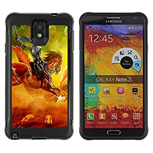 Hybrid Anti-Shock Defend Case for Samsung Galaxy Note 3 / Knight On Horse Painting
