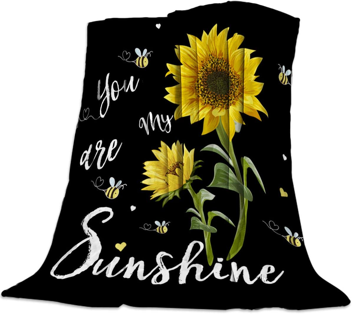 Fleece Blanket Throw Lightweight Super Soft Cozy Luxury Microfiber All Season Bed Blanket - Sunflowers You are My Sunshine (40 x 50 Inches)