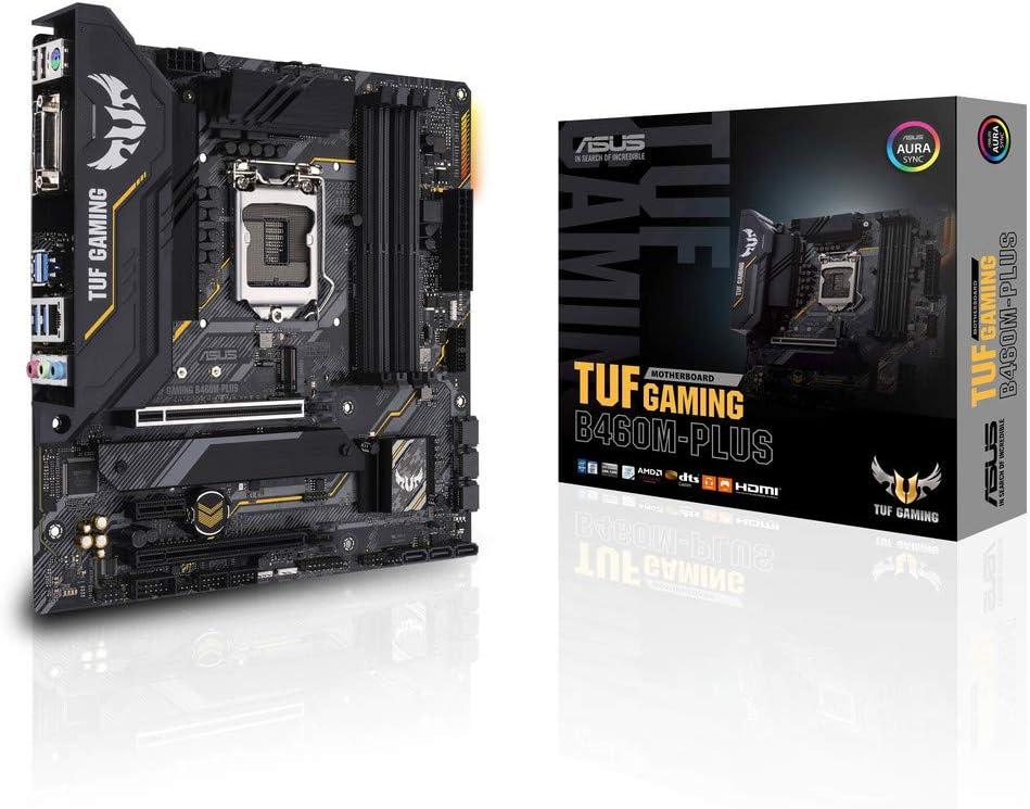 ASUS TUF Gaming B460M-PLUS - Placa Base Gaming mATX Intel de 10a Gen LGA 1200 con VRM de 8 Fases, Dual M.2, DDR4, LAN 1Gb, HDMI, DP, DVI, USB 3.2 Gen 2 e iluminación RGB Aura Sync
