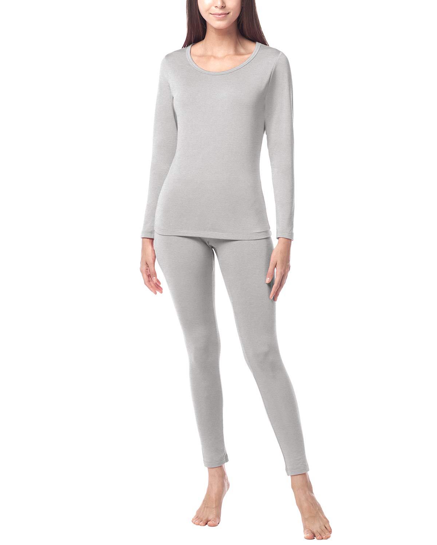 LAPASA Women's Midweight Thermal Underwear Long John Set Fleece Lined Base Layer Top & Bottom L41 (Small, Midweight Grey) by LAPASA