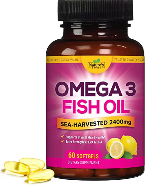 Fish Oil Supplement with Omega 3 - Triple Strength 2400mg, High in EPA and DHA - Non-GMO, Natural Heart Support and Brain Support - Burpless Softgels Made in USA for Men and Women - 60 Softgels
